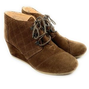 Toms Kala Brown Suede Wedge Ankle Boots Size 9.5